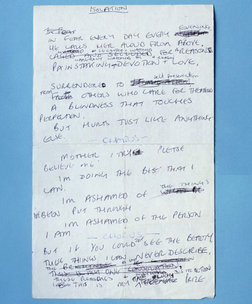 Joy Division Ian Curtis Handwritten Lyrics To Isolation Discos