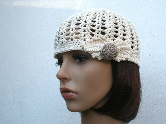 Crochet cotton woman Hat  - Custom colours & size - Retro - crochet leave and bead - Handmade in France