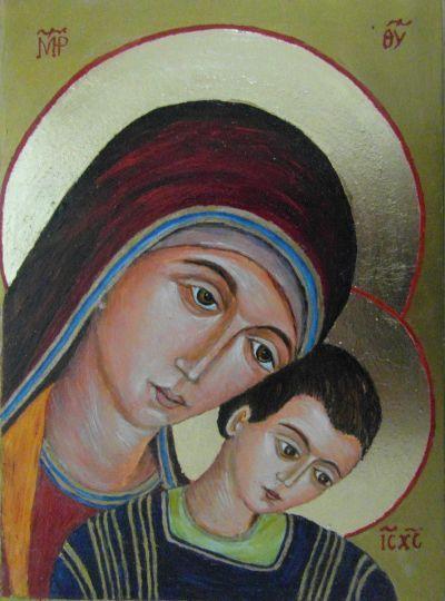 Madonna Drogi Neokatechumenalnej. Matka Boska Kykkotissa. Według Fr. Arguello Ikona napisana temperą.