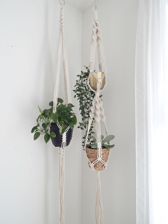 "MACRAME PLANT HANGER 10/"" Pot High Quality Indoor Outdoor Hand made"