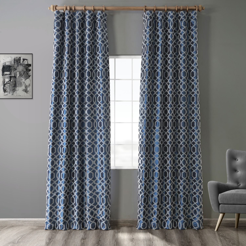Filigree Blue Grey Designer Flocked Curtain In 2020 Faux Silk Curtains Silk Curtains Curtains