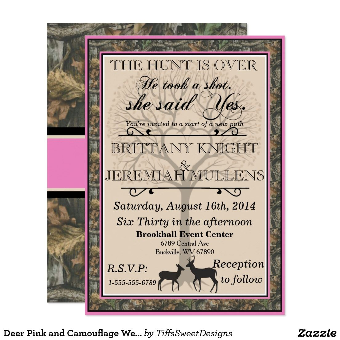 Camo Wedding Invitation: Deer Pink And Camouflage Wedding Invitation