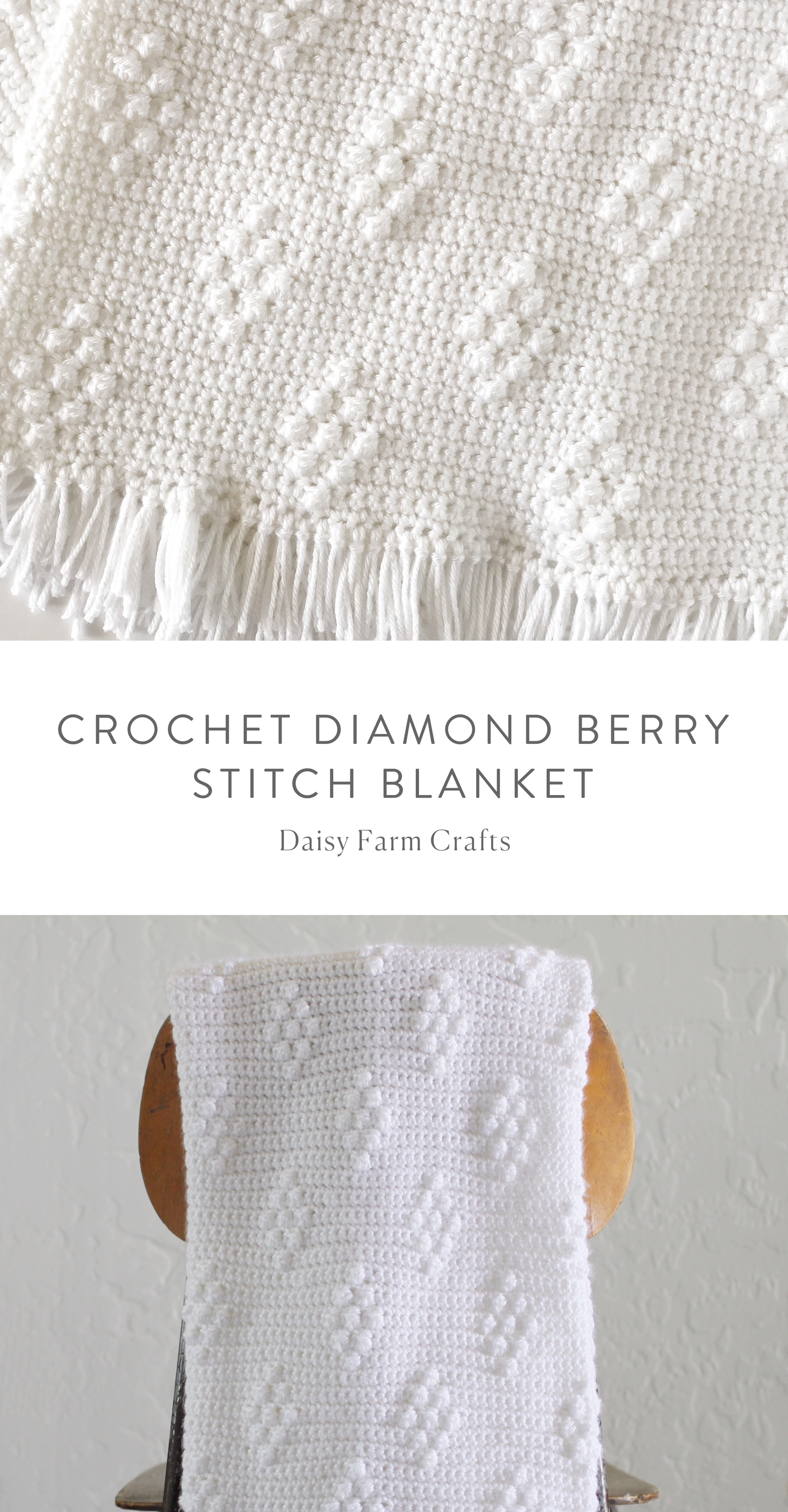Free Pattern - Crochet Diamond Berry Stitch Blanket | DIY projects ...