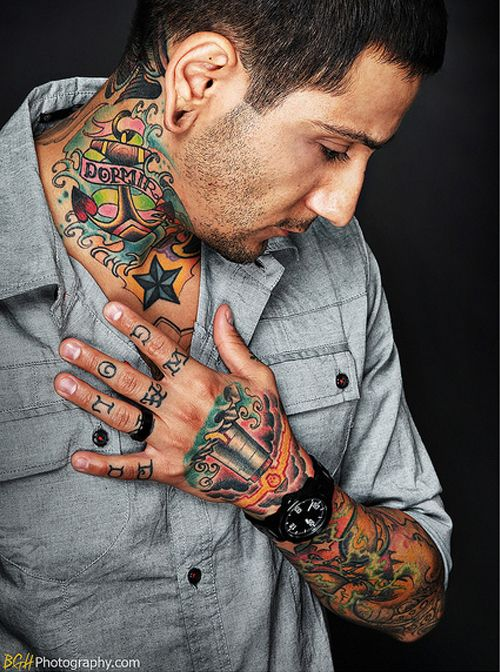 Color Neck Tattoos For Guys