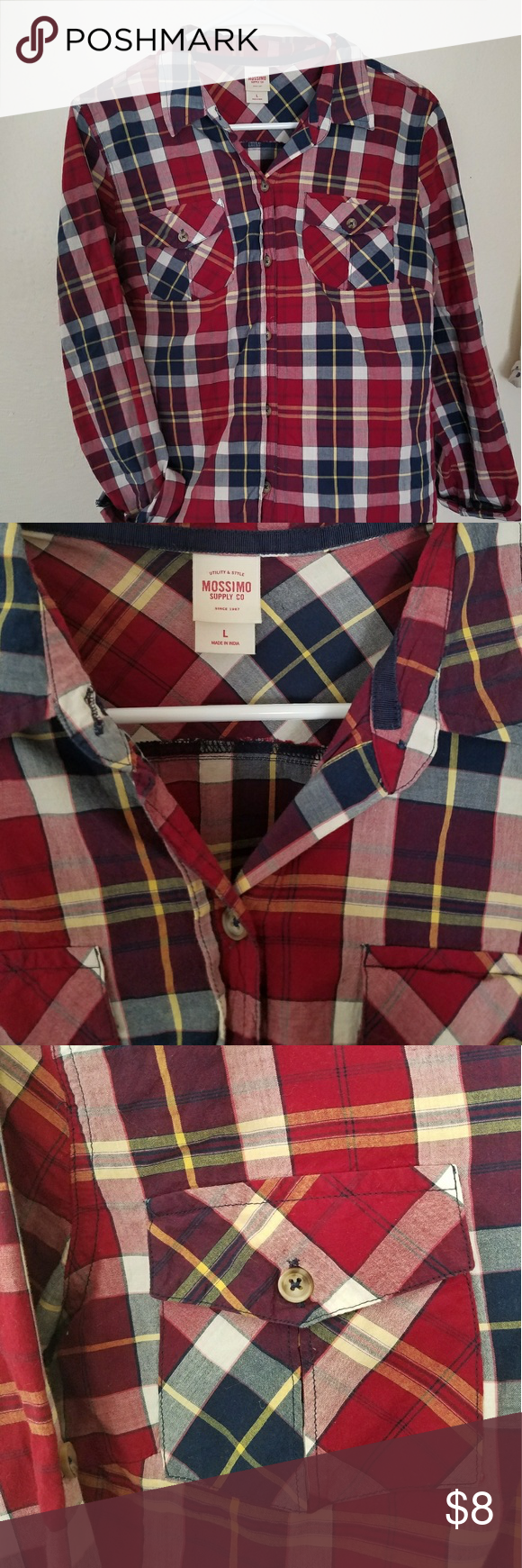 Flannel Button Up Red and blue bottom up shirt with rolled 3/4 sleeves. Mossimo Supply Co Tops Button Down Shirts