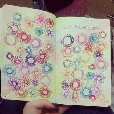 Just finished my first page of my Wreck This Journal! #colourful #spirograph by jelligirl05