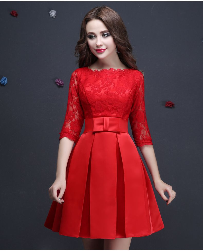 40ca6ed40 Vestido De Festa Red Lace Half Sleeved Elegant Short Evening Dresses ...