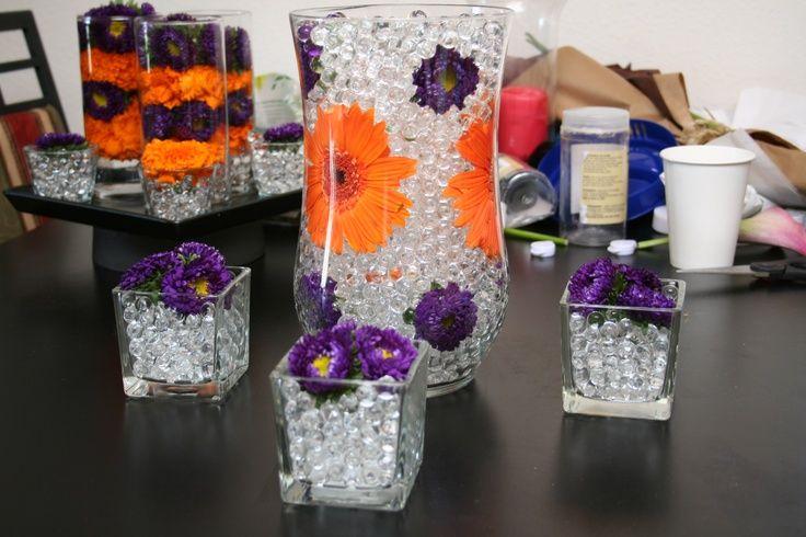Purple And Orange Wedding Centerpieces