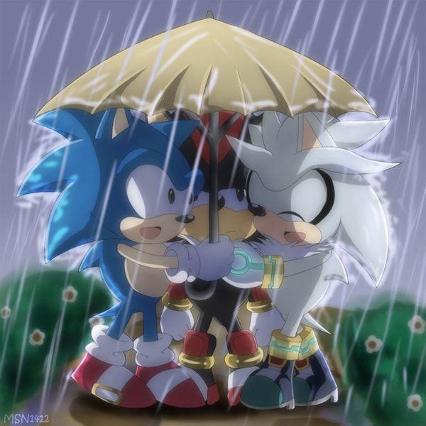 Sonic Silver And Shadow Under An Umbrella Omgosh So Kawaiii Sonic And Shadow Hedgehog Shadow The Hedgehog