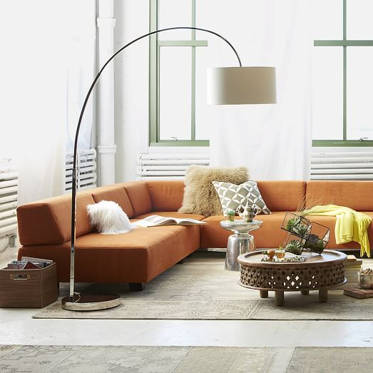 Overarching Floor Lamp Polished Nickel White West Elm