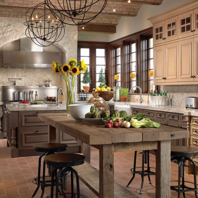 kitchen kitchens houzz country french designs rustic cabinets website decorating italian island walls stone homes table something taste filled everyone