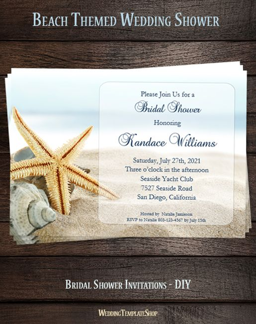 Beach Bridal Shower Invitation Tropical Destination Wedding