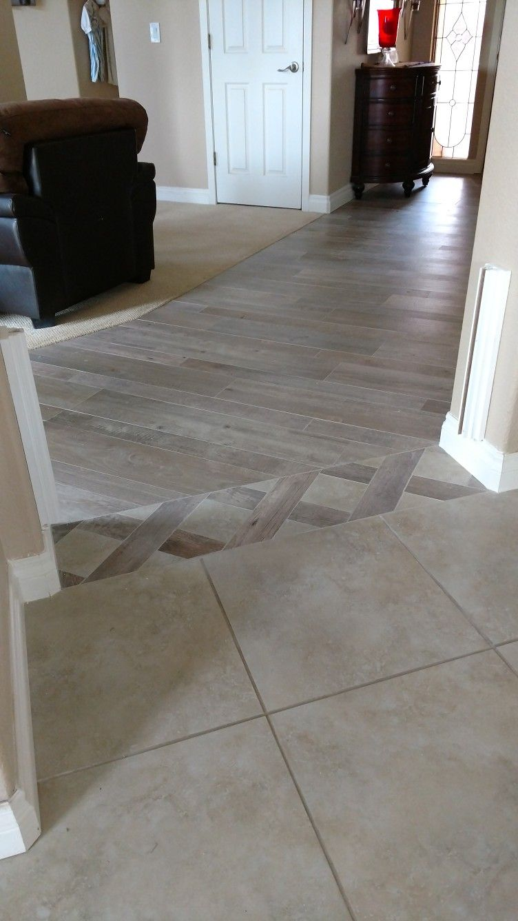 Tile Transition From Family Room To Kitchen Living Room Tiles Transition Flooring Flooring
