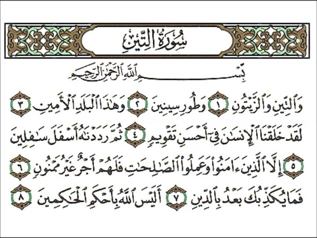 تفسير وتحفيظ سورة التين للأطفال رياض الجنة Arabic Worksheets Arabic Calligraphy Allah Names
