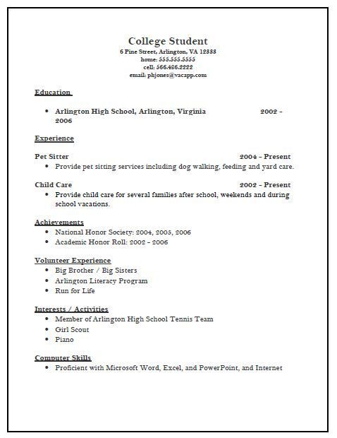 Resume for college admission