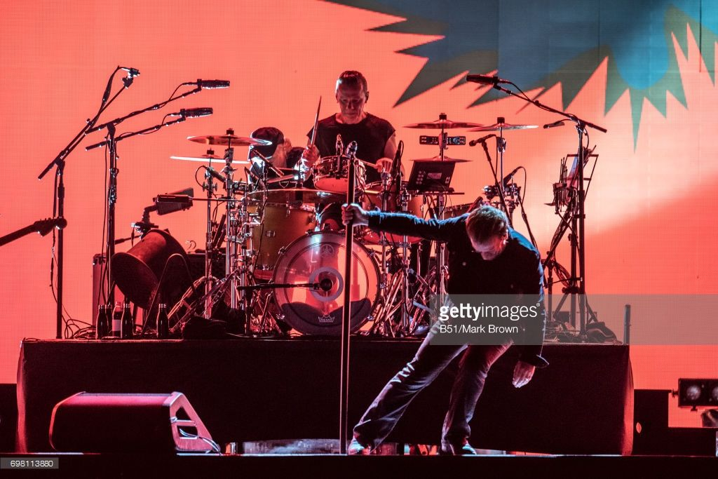 Larry Mullen Jr. and Bono of U2 perform on stage at Lincoln Financial Field on June 18, 2017 in Philadelphia, Pennsylvania.