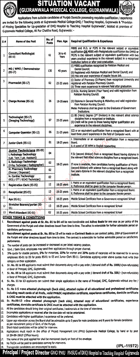 Nurses Jobs At Gujranwala Medical College Dhq Teaching