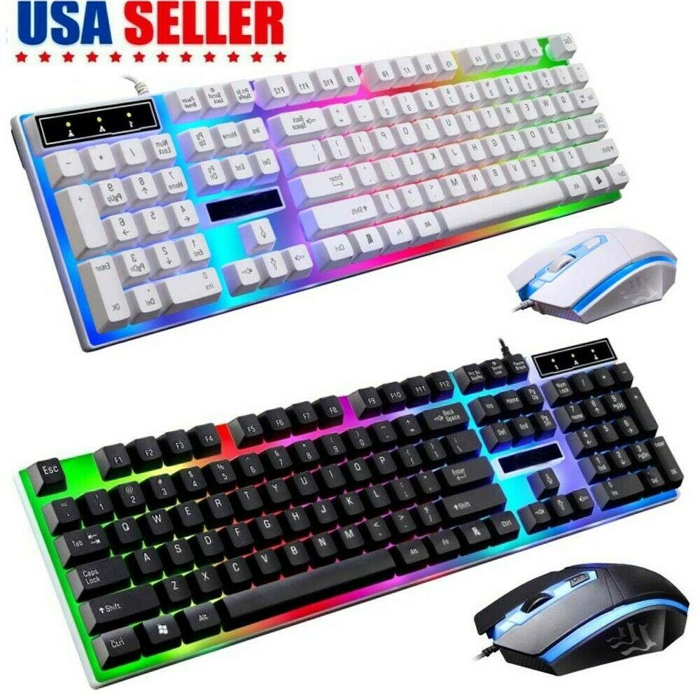 Computer Desktop Gaming Keyboard And Mouse Led Colorful Backlit Mechanical Feel Ebay Computer Desktop Keyboard Video Game Room Design