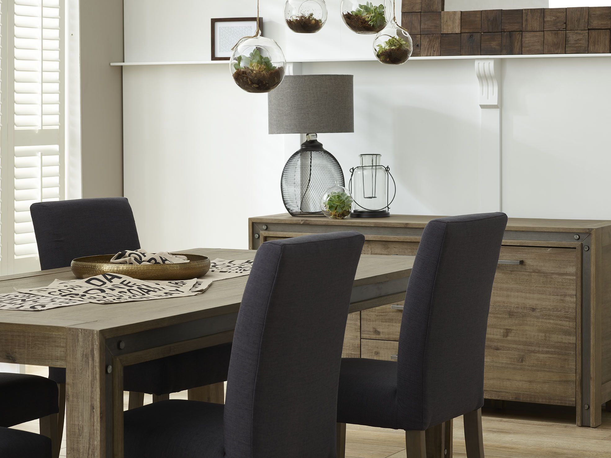focus on furniture's lexington dining table and buffet, with