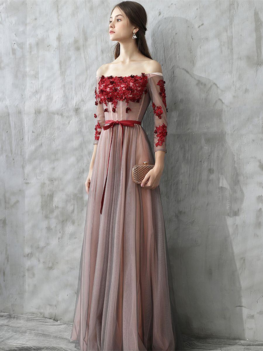 Aline appliques offtheshoulder sashes evening dress occasion