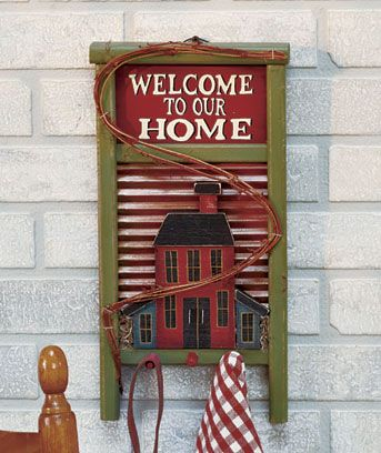 Country Washboard Welcome Signs