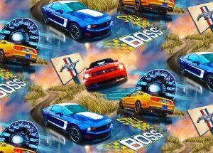 Amazon Com Fleece Ford Mustang Cars Allover Fleece Fabric Print