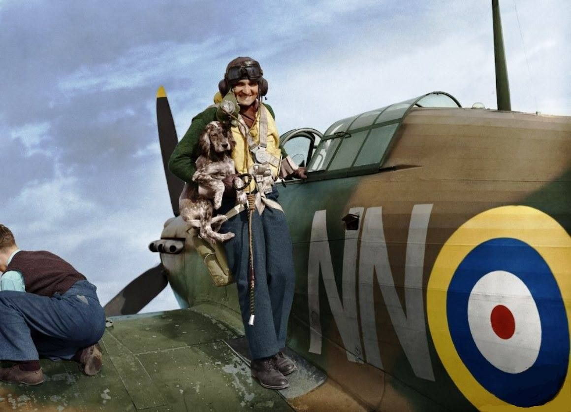 Sergeant Bohumír Furst and dog Rek,  Duxford, September 1940, 310.Squadron (Czechoslovak) RAF