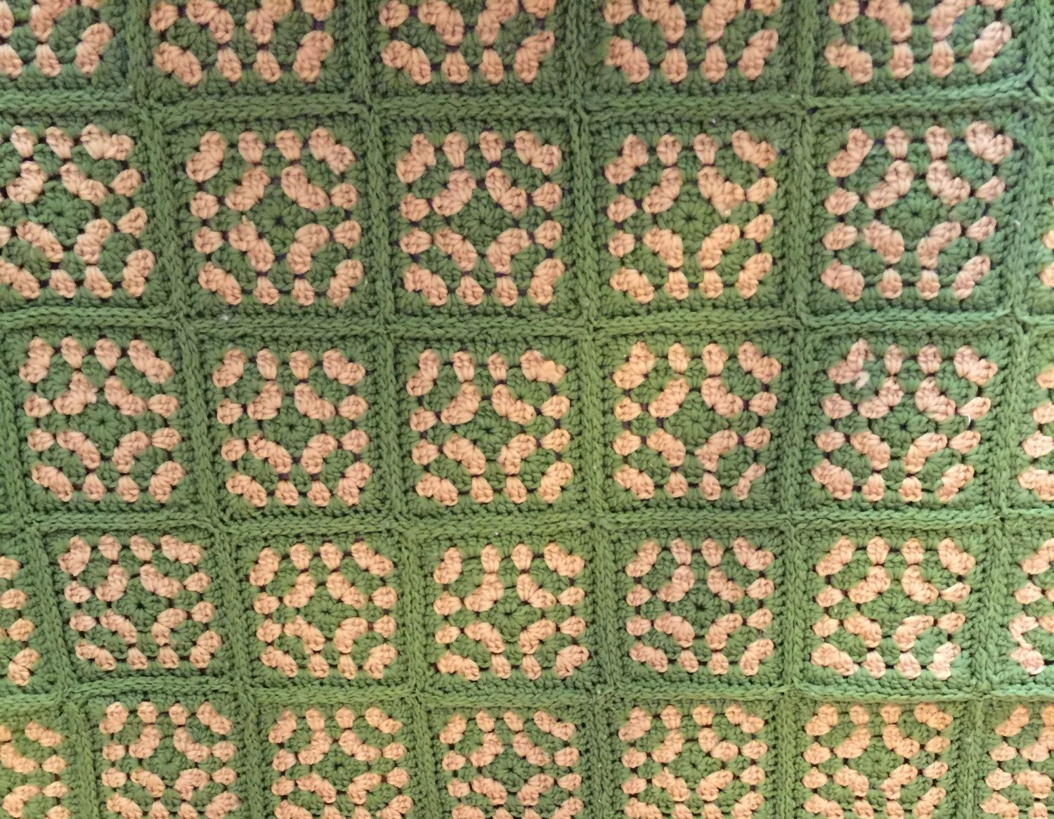 Afghan Blanket 100% Wool with Green and Tan Granny Squares by HautelAudubon on Etsy https://www.etsy.com/listing/468280363/afghan-blanket-100-wool-with-green-and