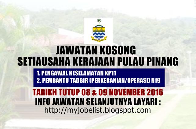 Jawatan Kosong Terkini Di Suk Pulau Pinang 08 November 2016 Jawatan Kosong Kerajaan Terkini Di Setiausaha Kerajaan Negeri Pu November