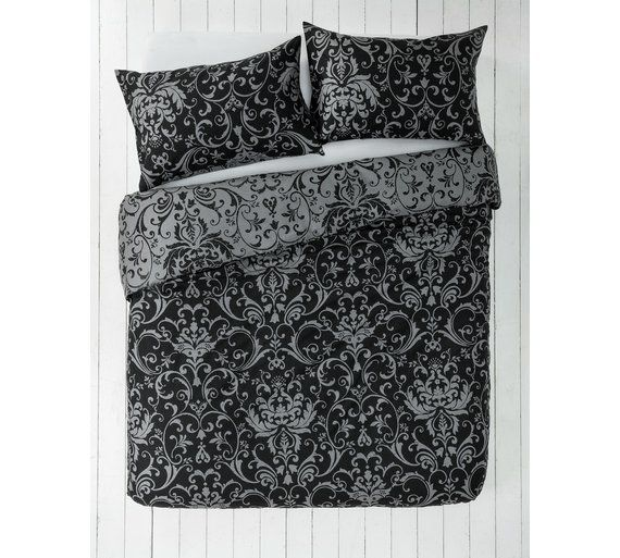 Buy Home Black And Grey Damask Bedding Set Double At Argos Co Uk Your Online Shop For Duvet Cover Sets Be Damask Bedding Bed Matching Bedding And Curtains