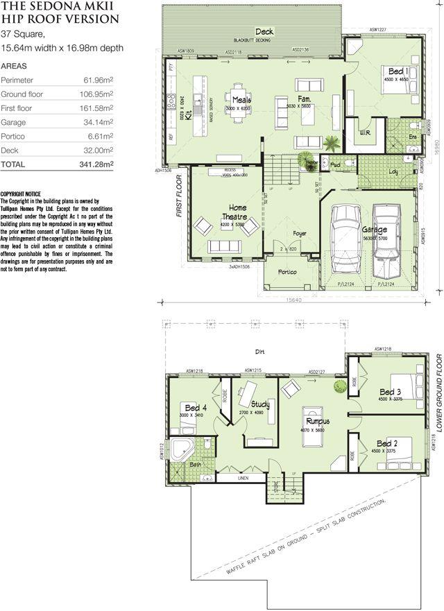 Sedona Mkii Tri Level Hip Roof Version House Plans Australia Beach House Floor Plans Split Level House Plans