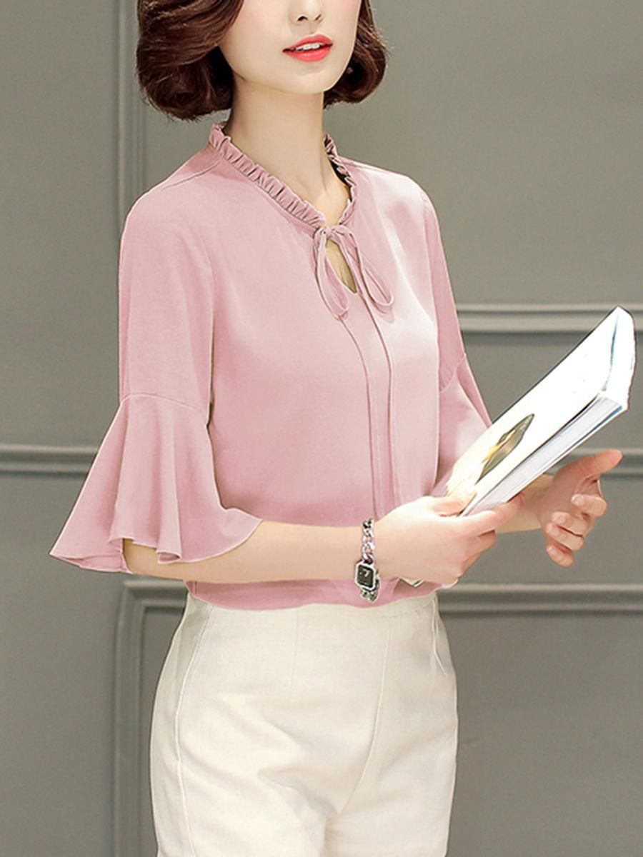 #AdoreWe #Fashionmia Fashionmia Tie Collar  Bell Sleeve Blouses - AdoreWe.com