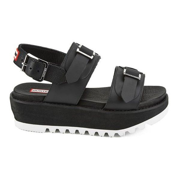 6446d439c38 Hunter Women s Original Double Buckle Mid Flatform Sandals (225 AUD) ❤  liked on Polyvore featuring shoes