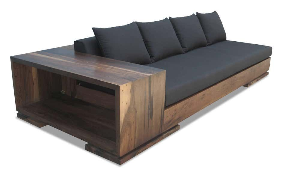 Patone Custom Modern Sofa In Rosewood With Shelving From Costantini In 2020 Wooden Sofa Designs Diy Sofa Wooden Couch