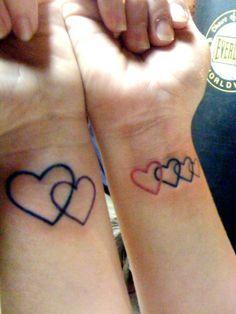 Family Heart Tattoos : family, heart, tattoos, Tattoos, Interlinked, Hearts, Heart, Tattoo,, Family, Tattoos,