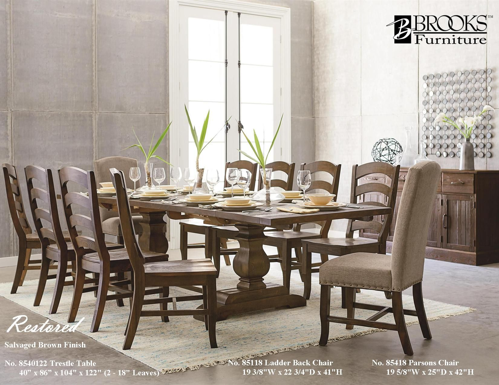 "Salvaged Brown Solid Pine 8540122 122"" Trestle Table With Ladder Fair Dining Room Table And Chairs For 4 Inspiration"