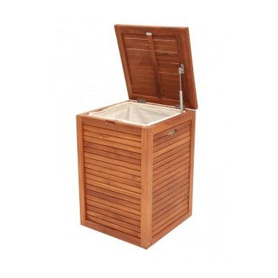 Laundry Hamper In Teak Timber Stands 660mm Tall And Is 460mm