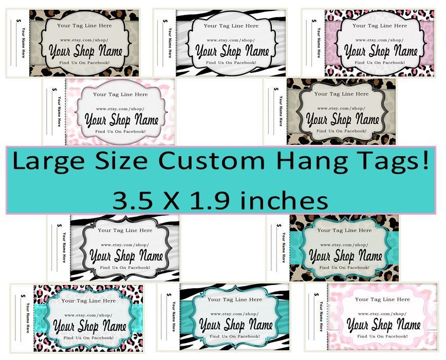 Large Size 3.5X1.9 inch Printed Custom Boutique Animal Print Hang ...