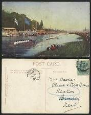 Oxford 1904 Old Postcard Summer Eights, Canoe Boat Race