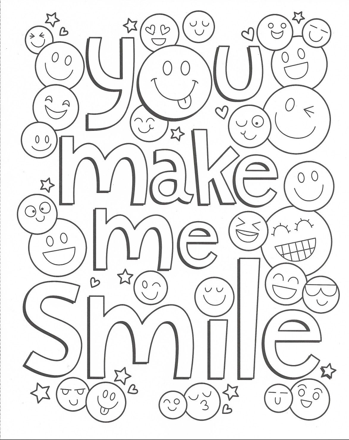 Girlie Coloring You Make Me Smile Quote Coloring Pages Cute