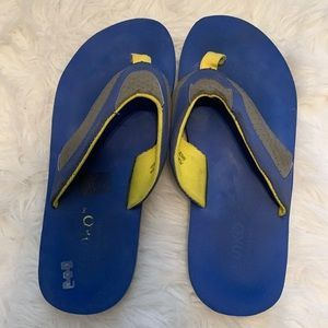 525blue and yellow flip flops mens