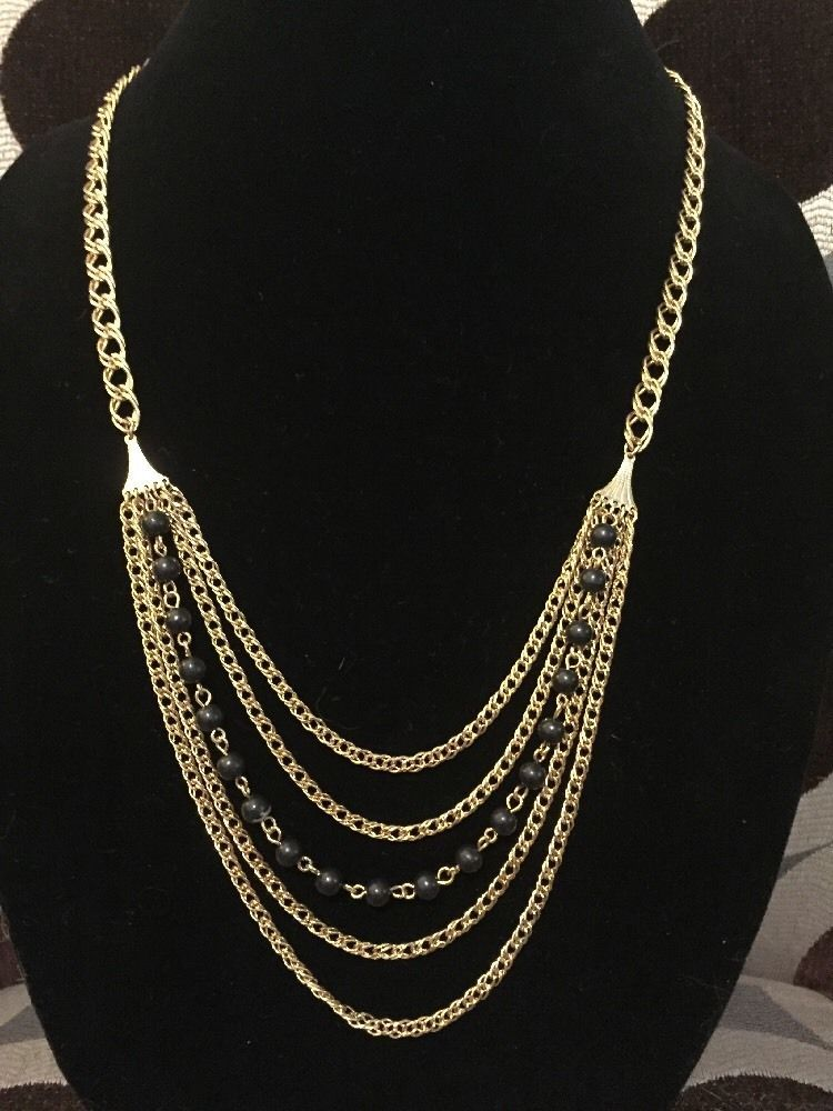506dfa765250b Vintage Necklace Gold Tone Multi Chain Link with Black Beads | eBay ...