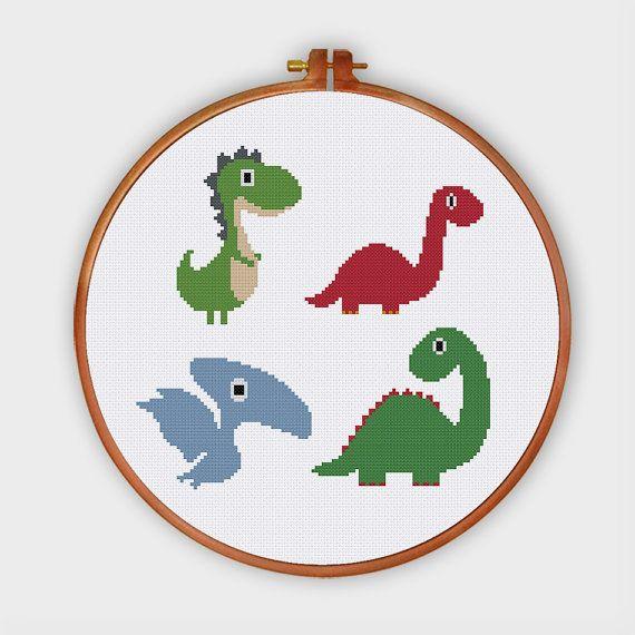 Los Dinosaurios Cute Punto De Cruz Patron Animalito De Punto De Cruz Patrones Puntos Basicos De Bordado Graficos Punto De Cruz
