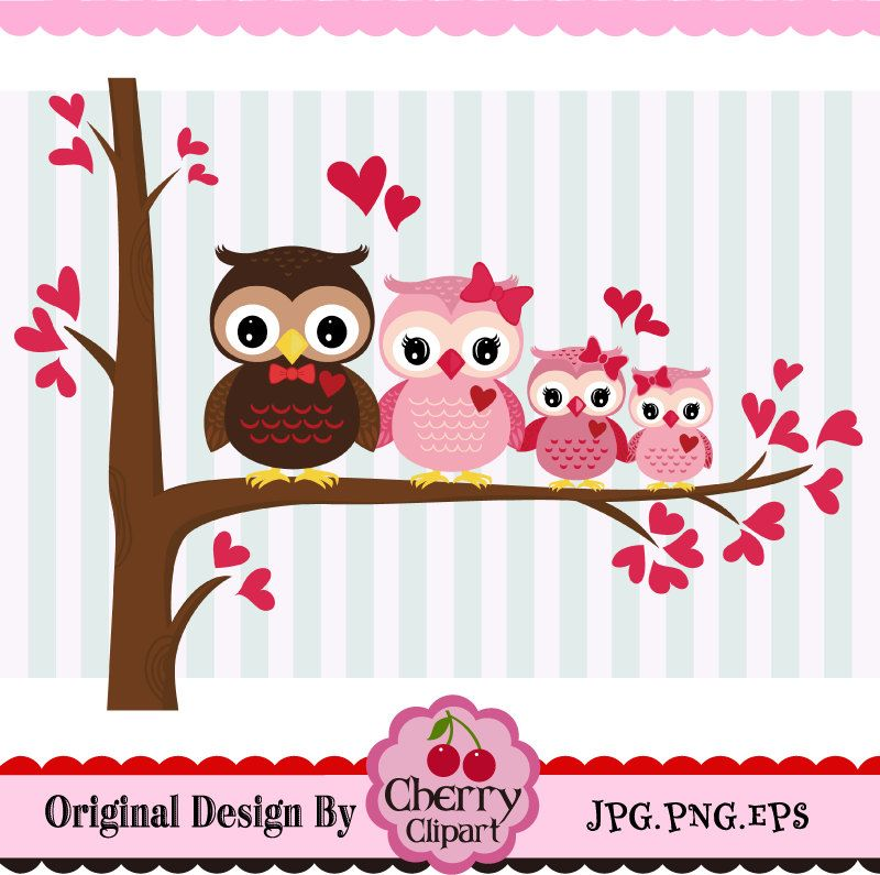 Valentine S Day Owl Family Valentine S Day Sweet Owls Owl Family