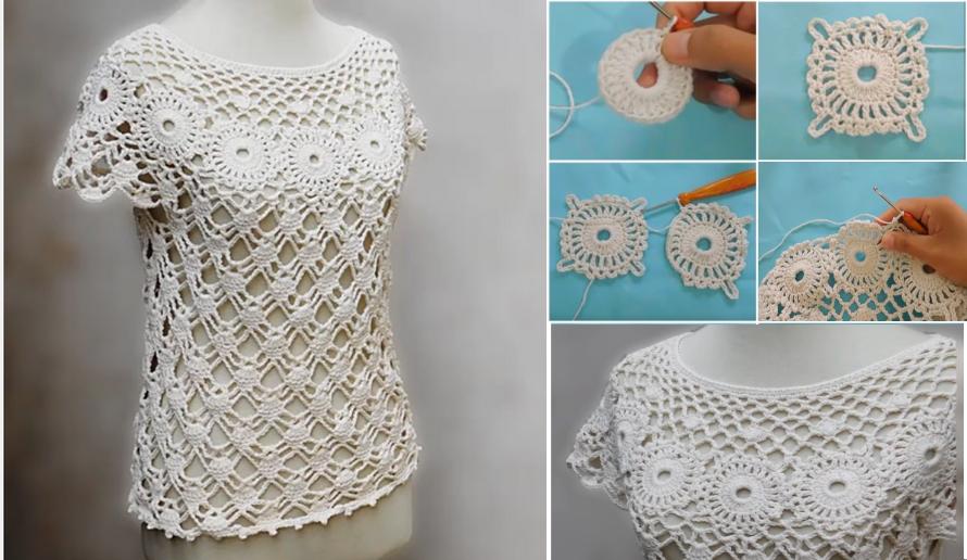 Tutorial of a Beautiful Crochet Blouse   crochet   Pinterest ...