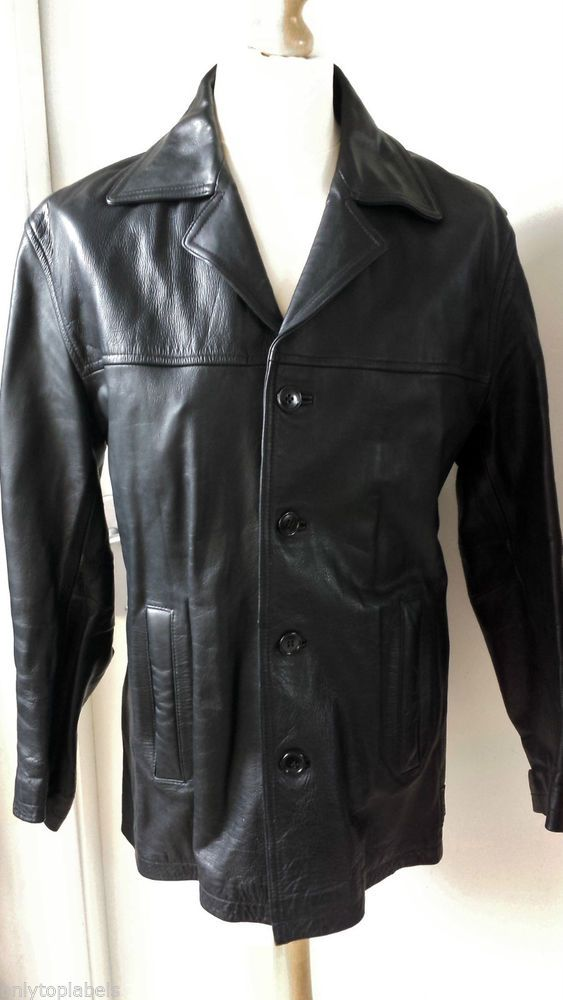 097616d088 Ben Sherman Leather Coat Jacket Mens Size M Black Mod Scooter Ska Ben  Sherman Leather Coat