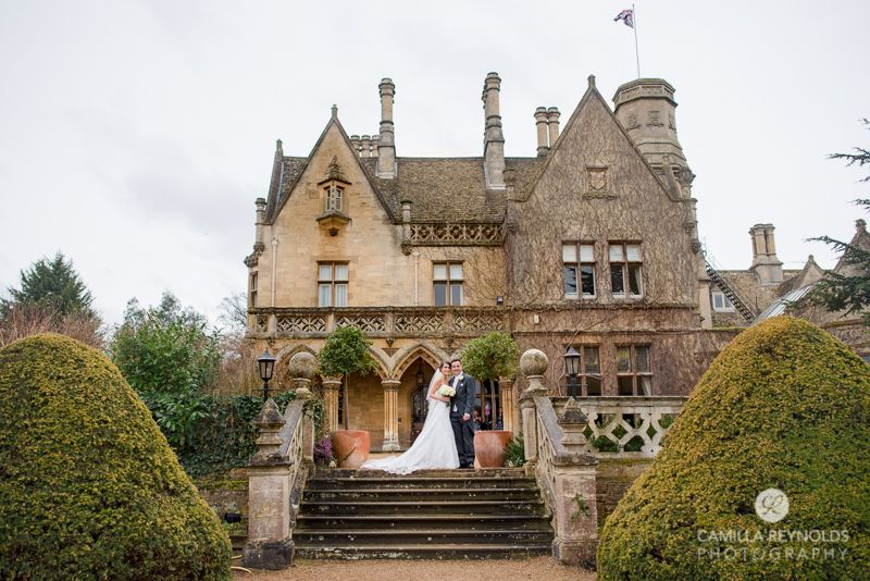 Bride and groom Manor by the lake wedding photo Cheltenham England, old manor house venues