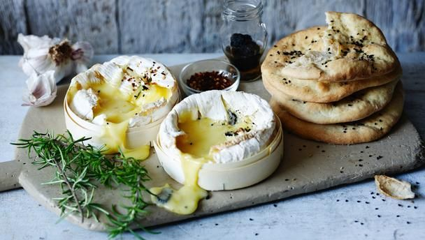 Melted camembert and bread for dipping for starter cheese bbc food recipes raymond blancs baked cheese fondue flat bread recipe forumfinder Choice Image