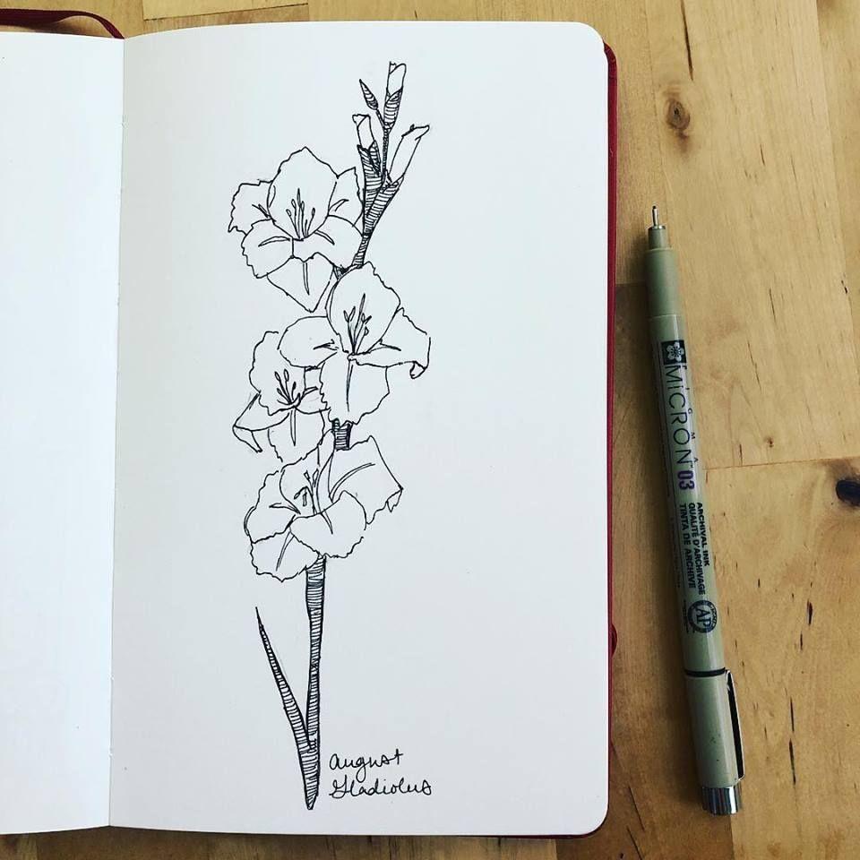Gladiolus Sketch Gladiolus Flower Tattoos Birth Flower Tattoos Gladiolus Tattoo