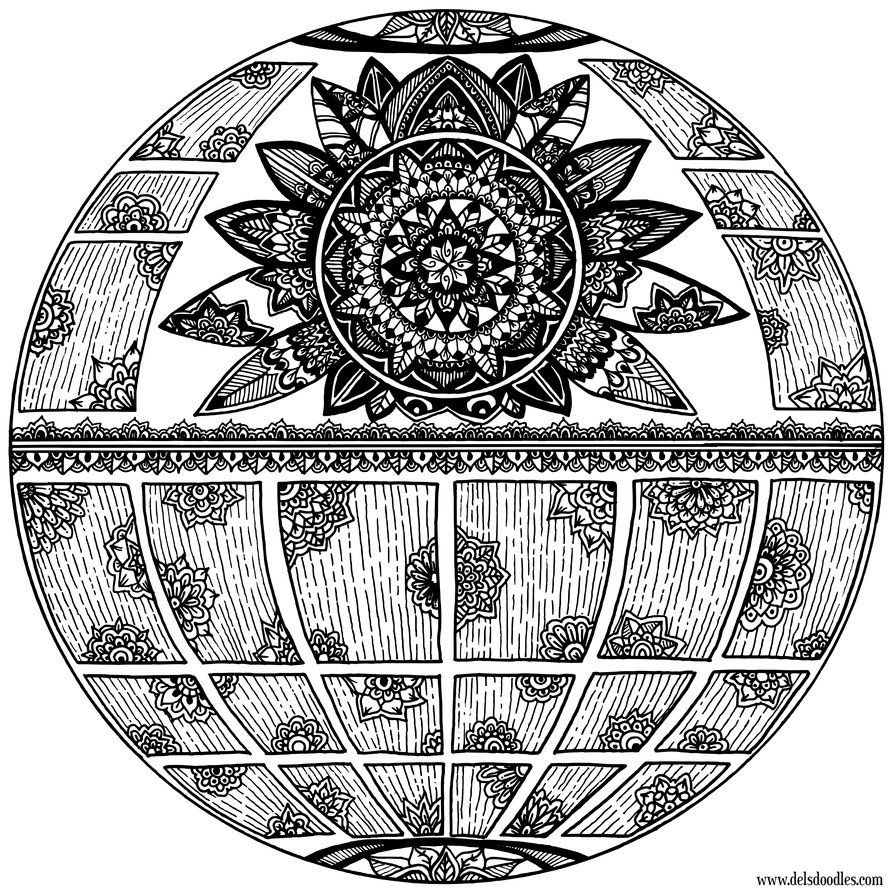 Deathstar Coloring Page By Welshpixie Mandala Coloring Mandala Coloring Pages Coloring Pages